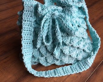 Unique Blue Crochet Purse,  Lined Crochet purse,  Drawstring Purse