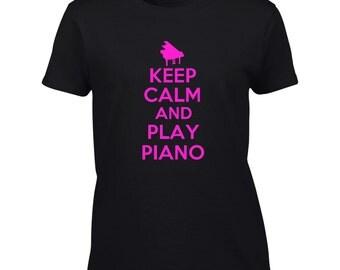 Keep Calm And Play Piano T-Shirt - Mens Ladies Womens Kids Youth Tee
