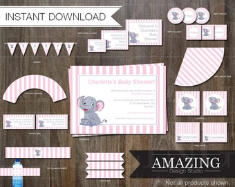 Girls Pink Baby Shower Editable Printable Kit: Instant Download. Stripe Elephant Invitations, Banners, Cupcake Wrappers  & Decorations