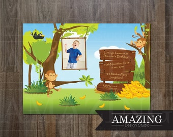 Monkey Birthday Invitation: Personalized Printable Photo Cheeky Monkeys Invitations for Boys or Girls Parties & Childrens Kids Party
