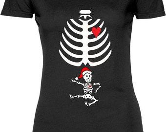 Funny Kung Fu Skeleton Christmas Tshirt Gift T-shirt Tee Shirt Womens Mother Christmas Pregnant X-Ray Maternity Xray Fun T-shirt Tee Shirt