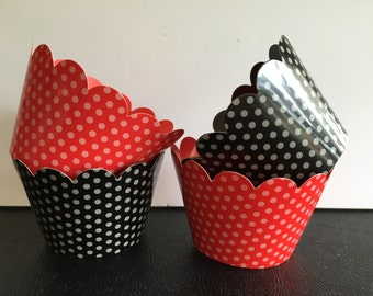 Decorative Cupcake Wrappers, Muffin Wrappers, Polka Dots, Red, Black, Birthday, Showers, Wedding, 12 wrappers total, Your Choice of Color