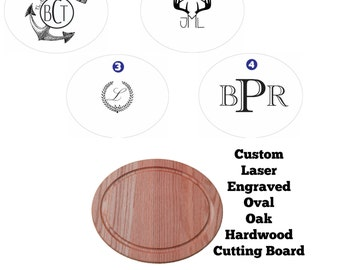Custom Laser Engraved OAK Oval Cutting Board with FREE mineral oil!