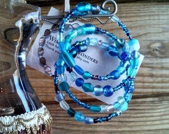 Blue glass beaded memory wire bracelet