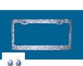 POPULAR - LARGE SILVER bling super mega sparkle Glitter Blinging Rhinestone Caps License Plate Frame