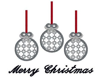 Embroidery Design Pattern Trio of Ornaments Merry Christmas