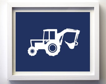Construction vehicle transportation baby boys nursery art work vehicle printable download navy blue boys room wall art print, boys art print