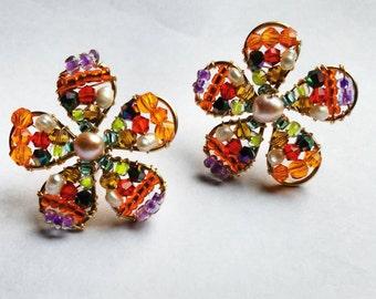 earrings, earrings flower, earrings handmade