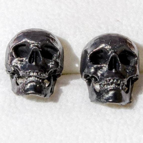3d printed black skull stud earrings