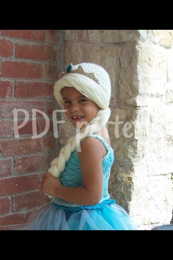 Queen hat pattern, princess wig, ice braid wig, princess crochet hat , crochet elsa pattern, cold ice hat, crochet hat pattern, queen hat