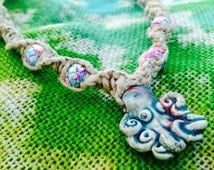 Hemp Octopus Pendant Necklace - Spiral Hemp Necklace with Raku Octopus Pendant