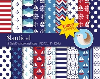 Nautical Digital Paper Set - Navy and Red Digital Paper - Set of 18 Digital Scrapbooking Papers