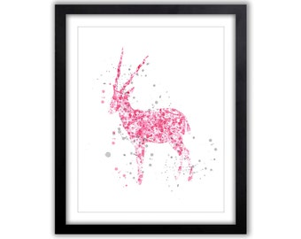 Animal Watercolor Art - Nursery Art Painting - Pink and Gray - Antelope - New Baby Gift - Baby Girl Nursery - Modern Nursery Art - SA040