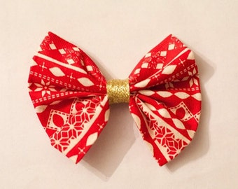 Red white and gold Christmas Bow