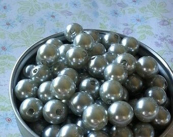 10mm Silver Pearl Chunky Bead