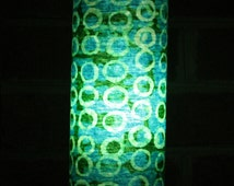 Accent lamp - Batik turquoise, green and white cotton table lamp or pendant light - fair trade fabric from Ghana