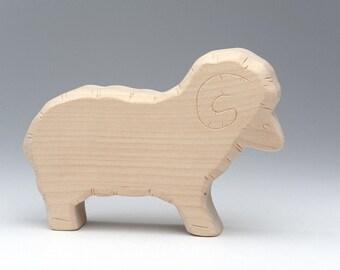 Wooden Toy Ram - Wooden Animal Figurine - Ram - Lamb - Wood Animal - Wooden Toys - Wood Lamb - Wooden Farm Animals - Waldorf - Eco Friendly