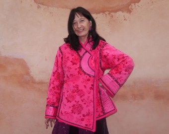 Mongolian jacket, ethnique, asian, in printed fushia velvet. Winter. Ribbons. Nomad look. Unique creation.