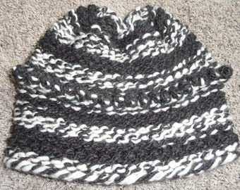 Grey and White Stripe Knit Hat