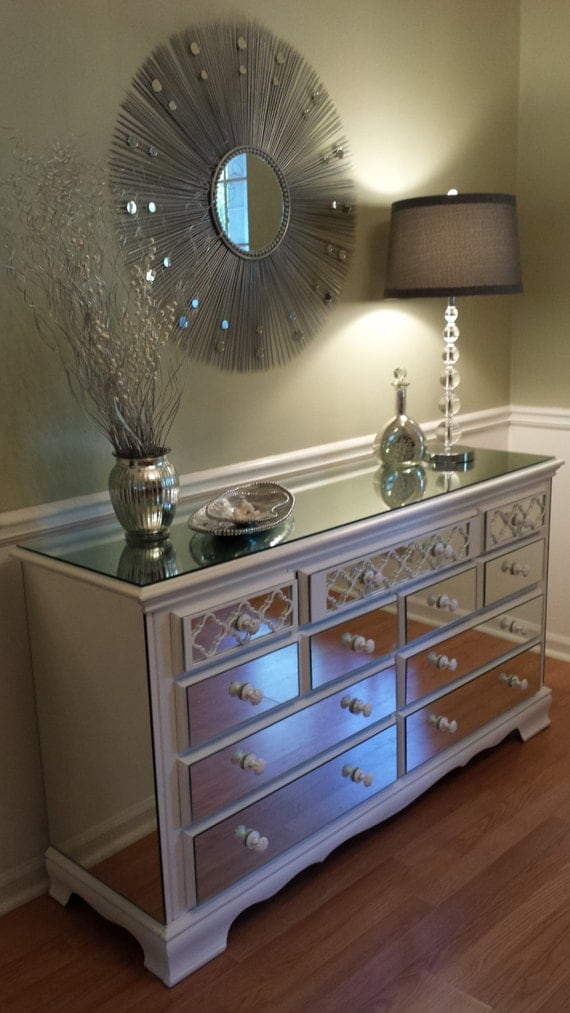 Mirrored Dresser White with Quatrefoil overlay, Shabby Chic 9 drawer mirror dresser annie sloan pure white chalk paint