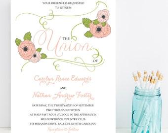 Printable Wedding Invitation - Pink Flower Wedding Invitation - Print Yourself Wedding Invitation