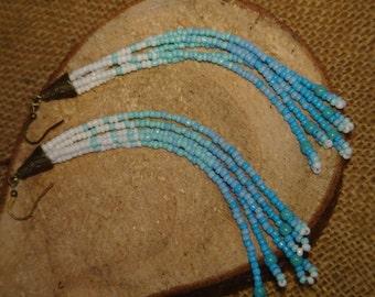 Dangle Beaded Earrings. Blue tones. Native American. Water Element. Tassel earring.
