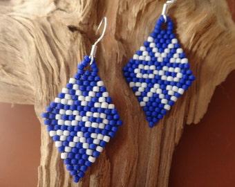 Metis Nation... Beaded earrings . Native American . First Nations. Of diamond earring. Tribal. Metis flag