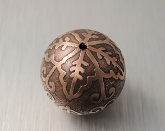 Large Etched Copper Bead - Scalloped Flower Design - 22mm Round Bead