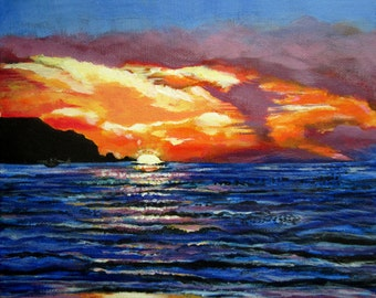 Sunset on the Ocean (Painting Print)