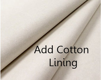 Cotton Lining- Add To Your Curtain Order- Cotton Curtains- White Curtain Lining- 50 Inch Wide