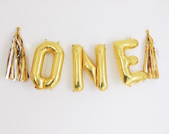 one balloons gold mylar foil letter balloon banner kit