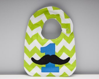 Custom Bib with Number 1 and Mustache. (add note for different colour number 1)