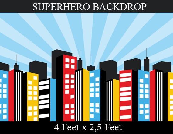 Superhero background superhero birthday party city by enipixels