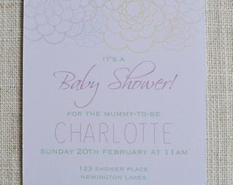 "Petal Baby Shower Invitation. 6x4"" Personalised Digital File."