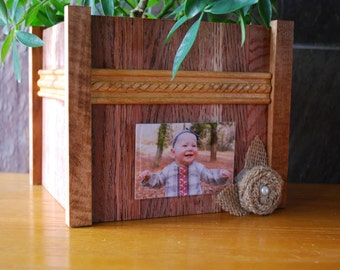 Decorative Wooden Planter, Personalized Planter with Photo Frame, Rustic Household Planter, Hand Painted Wooden Planters,