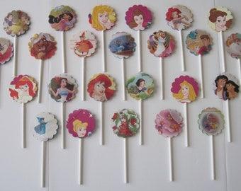DISNEY PRINCESS - Cupcake Toppers - Set of 26 - OVER 2 Dozen