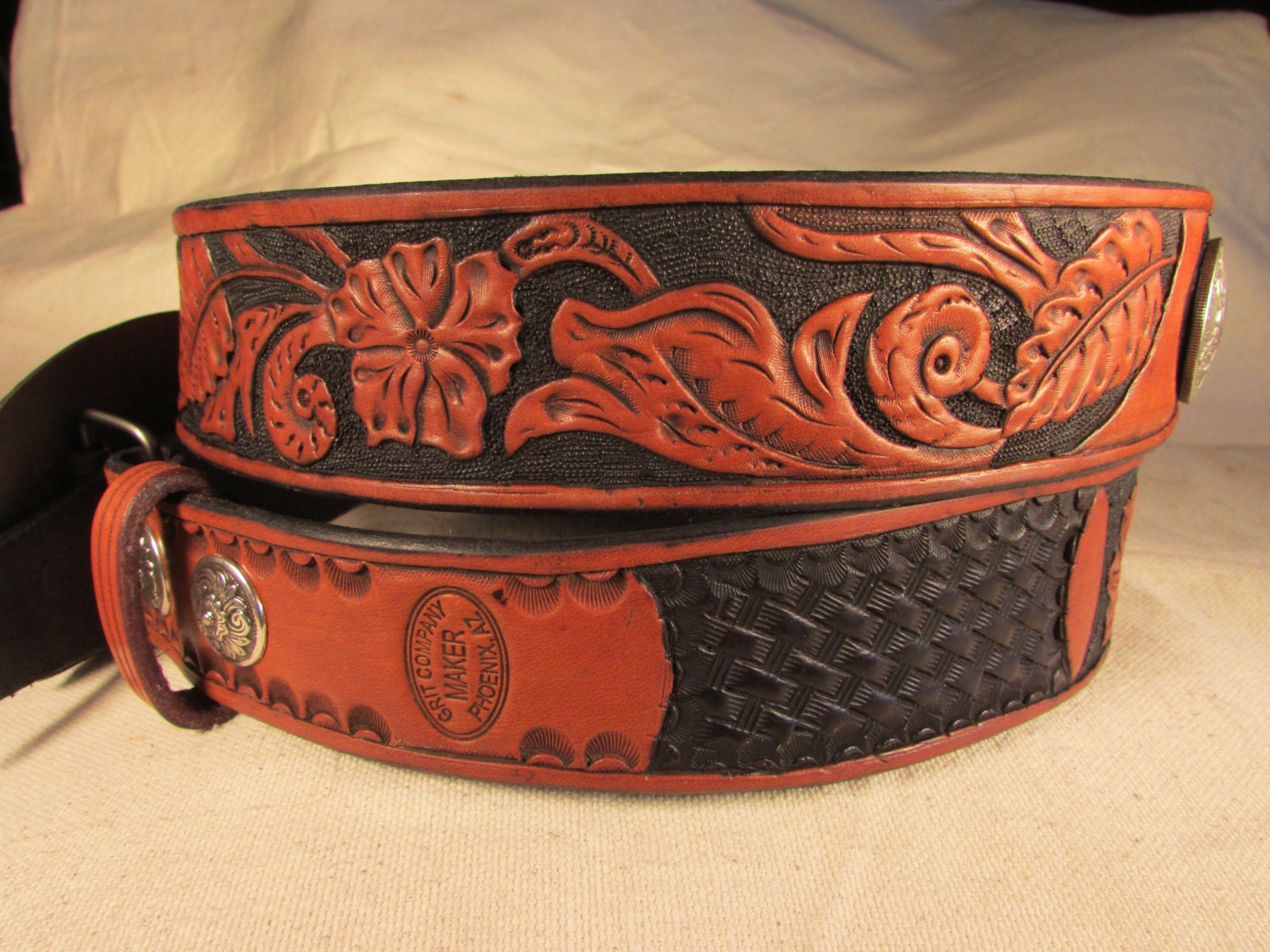 1 75 tooled leather belt with flower