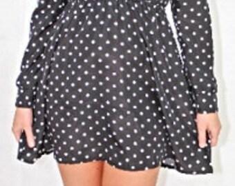 Chloe Skater Dress in Black Polka Dot