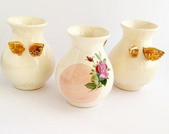 Ceramic Flower Vase - Ceramic Vase with Gold Wings - Flower Vase - Unique Vase - Ceramic and Pottery
