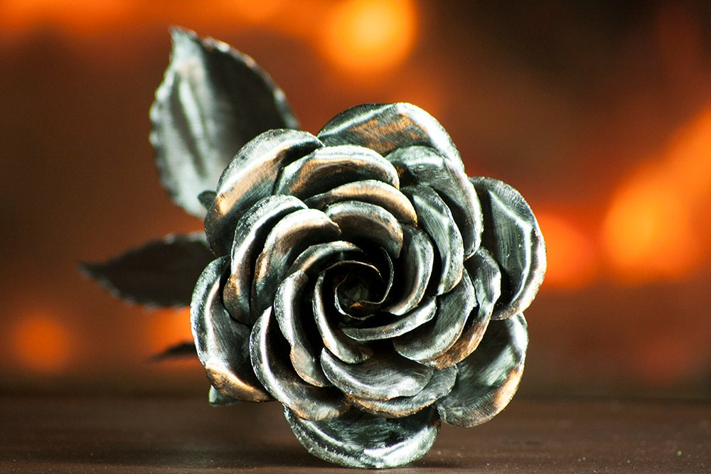 Metal Rose Roses Perfect Handmade Forged Iron Steel Rose Art