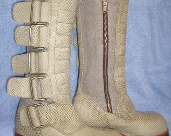 Hemp/Leather Biker Boots