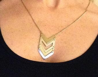 Gold & Silver Chevron Necklace