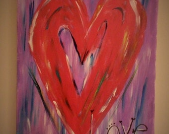 """Hand-painted """"Love"""" Canvas Art"""