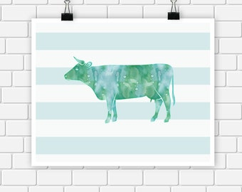 Cow Watercolor Art Print Farm Animal Nursery Wall Art 8 x 10 Instant Download