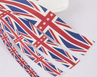 10 Yards Union Jack Ribbon, the Union Flag Pattern, 9 Yards 900cm length, Polyester, Great Britain Flag