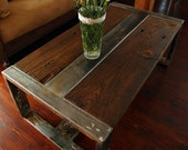 Handmade Reclaimed Wood & Steel Coffee Table - Vintage Rustic Industrial Coffee Table