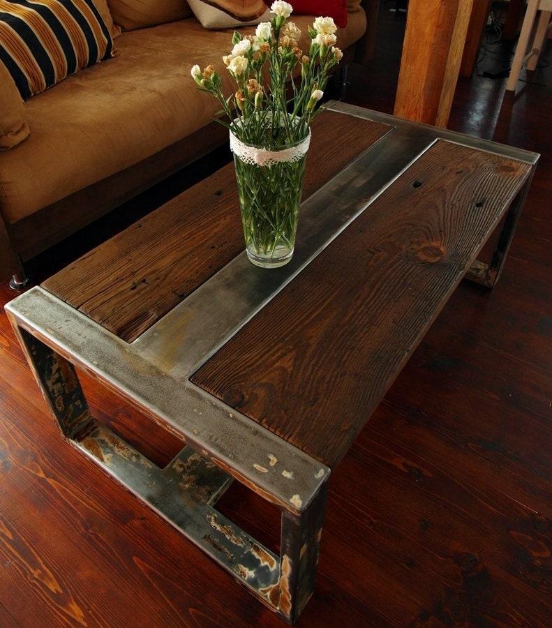 Handmade Reclaimed Wood & Steel Coffee Table Vintage Rustic