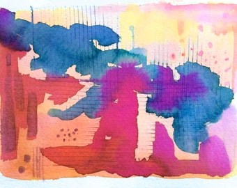 """abstract watercolor painting, original signed, 7"""" x 5"""" image size"""