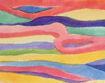 """Watercolor abstract, signed original, measures 5"""" x 6.5"""""""