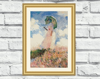 Instant download counted cross stitch pattern of Claude Monet Painting - Woman with a Parasol (P015)